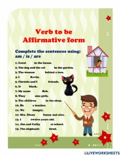 Interactive worksheet Am is are affirmative form