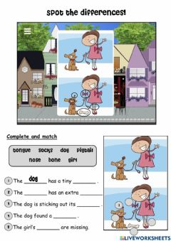 Interactive worksheet Spot the differences!