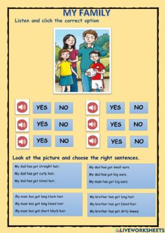 Interactive worksheet MY FAMILY. Physical description
