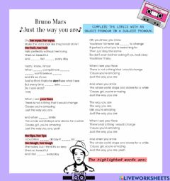 Interactive worksheet Song: Just the way you are