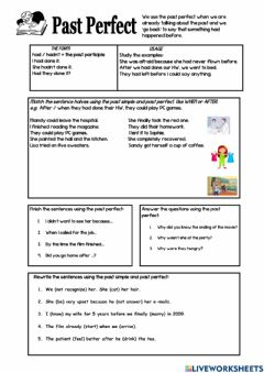 Interactive worksheet Past Perfect 4