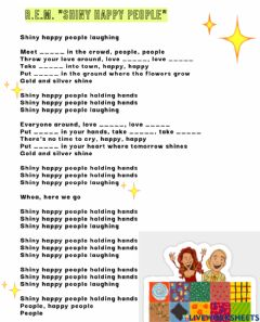 Interactive worksheet Song: Shiny happy people
