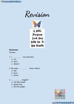 Interactive worksheet Revise and check units 3 and 4, elementary