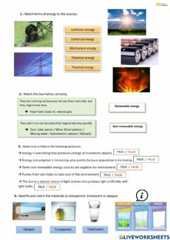 Interactive worksheet Energy and light