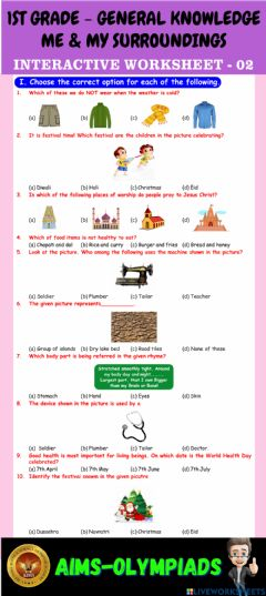 Ficha interactiva 1st-general knowledge-ps02-me & my surroundings
