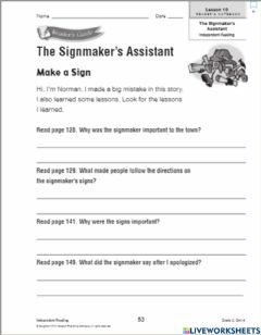 Interactive worksheet The Signmakers Assistant