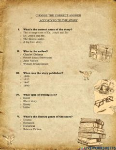 Ficha interactiva Dr Jekyll and Mr Hyde questionnaire