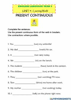 Interactive worksheet Present Continuous: Affirmative and Negative