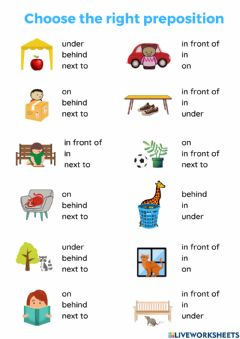 Interactive worksheet Choose the right preposition of place