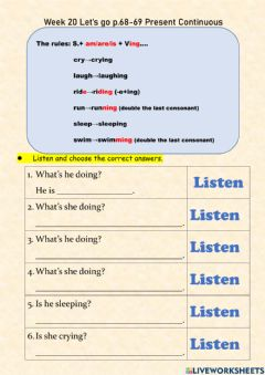 Interactive worksheet Let's go 2 Present Continuous