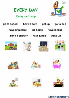Ficha interactiva Every day: Drag and drop