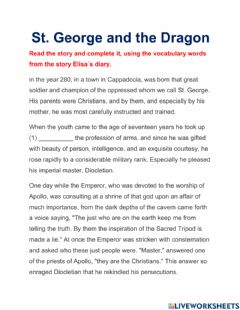Interactive worksheet St. George and the Dragon