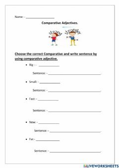 Interactive worksheet Comparative words follow one syllable