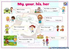 Interactive worksheet My, your, his or her?