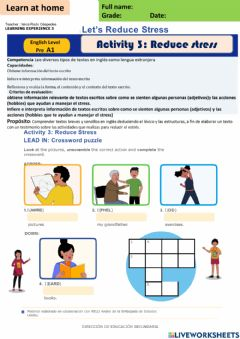 Ficha interactiva Let-s Reduce Stress - activity 3 Pre A1 week 13