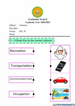Interactive worksheet Science evaluation term 2