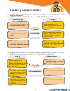 Interactive worksheet Causas y Consecuencais