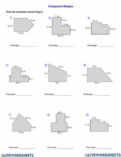 Interactive worksheet Compound Shapes