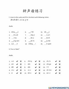 Interactive worksheet Chinese Pinyin Initial Practice