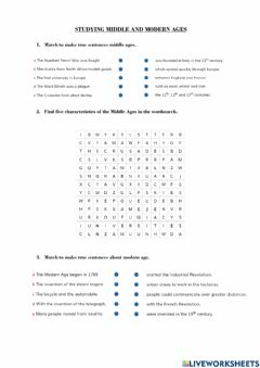 Interactive worksheet Middle And Modern Ages