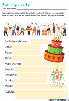 Interactive worksheet Plan a party