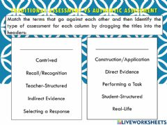 Interactive worksheet Authentic vs traditional assessments