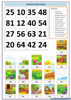Interactive worksheet Maths Picture Puzzle-Multiplication