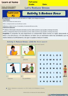 Interactive worksheet Let-s Reduce Stress - Activity 3:Reduce Stress A1 week13