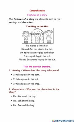 Interactive worksheet Features of a Story