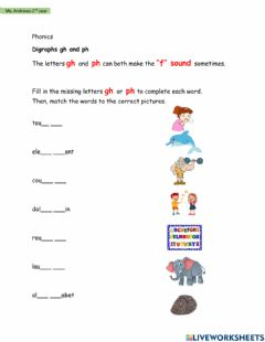 Interactive worksheet Digraphs- gh and ph