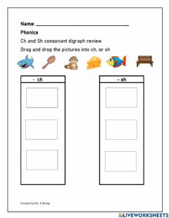 Interactive worksheet Ch and Sh digraph review