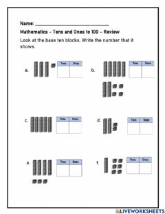 Interactive worksheet Tens and Ones to 100 Review