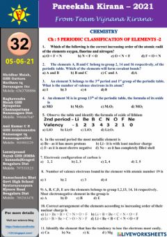 Interactive worksheet Periodic classification of elements