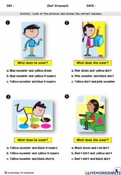 Interactive worksheet Get Dressed Year 2 (Multiple Choices)