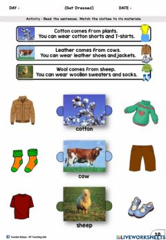 Interactive worksheet Get Dressed Year 2 (Look, read and match)