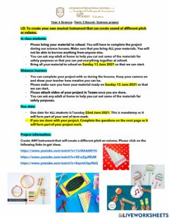 Interactive worksheet DIS Science Term 3 Project. Sound