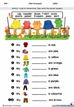 Interactive worksheet Get Dressed Year 2 (Fill in)