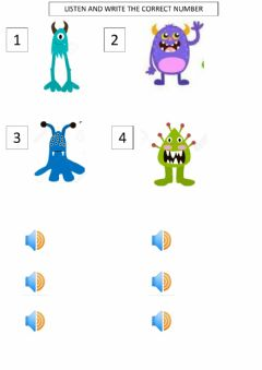 Interactive worksheet Body parts. monsters
