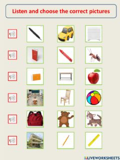 Interactive worksheet Listen and choose the correct pictures