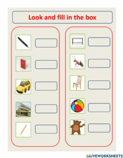Interactive worksheet Look and fill in the box