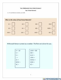 Interactive worksheet Maths Term 3 week 10 lesson  2 Int and Higher