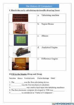 Interactive worksheet The History of Computers