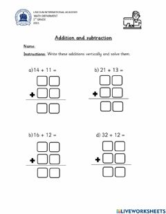 Interactive worksheet Additions and Subtractions