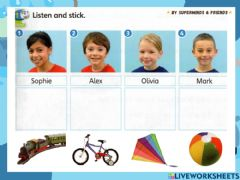 Interactive worksheet Super Minds Unit 2 Page 23 Let's Play CD1Track 31 Listen and stick