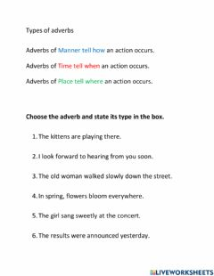 Interactive worksheet Types of Adverbs