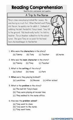 Interactive worksheet Story Elements - A Trip to the Nurse