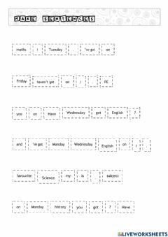 Interactive worksheet Subjects - HAVE GOT