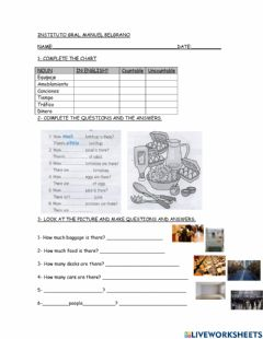 Interactive worksheet HOW MUCH-MANY? TEST