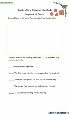 Interactive worksheet Cloudy With a Chance of Meatballs- Sequence of Events Activity