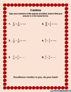 Interactive worksheet Fractions- Mixed operations